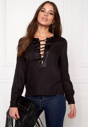 Rut & Circle Elin Lace-Up Blouse 001 Black 36