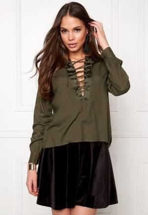 Rut & Circle Elin Lace-Up Blouse Vintage Olive 42