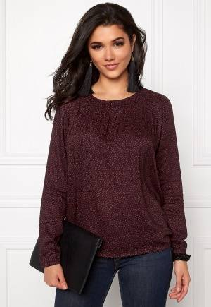 SOAKED IN LUXURY Brook Star Blouse LS Navy with Brick XS
