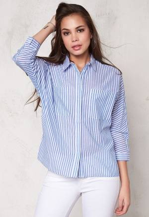 SOAKED IN LUXURY Stay Shirt Blue and White L