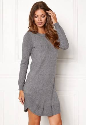VERO MODA Annika LS Ruffle Dress Medium Grey Melange L