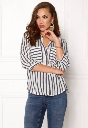 VERO MODA Erika Stripe 3/4 Shirt Snow White Stripes XL