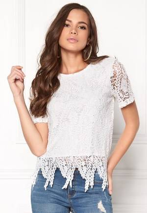VERO MODA Flora s/s Lace Top Snow White XS