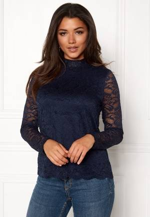 VERO MODA Freja Lace High Neck Top Navy Blazer XS