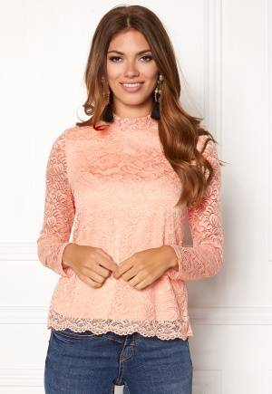 VERO MODA Freja Lace High Neck Top Rose Cloud XS