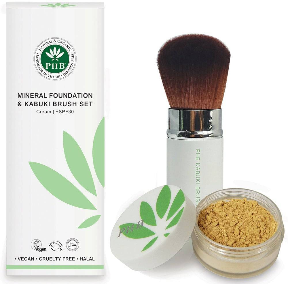 PHB Ethical Beauty Loose Mineral Foundation & Kabuki Brush Set - Cream