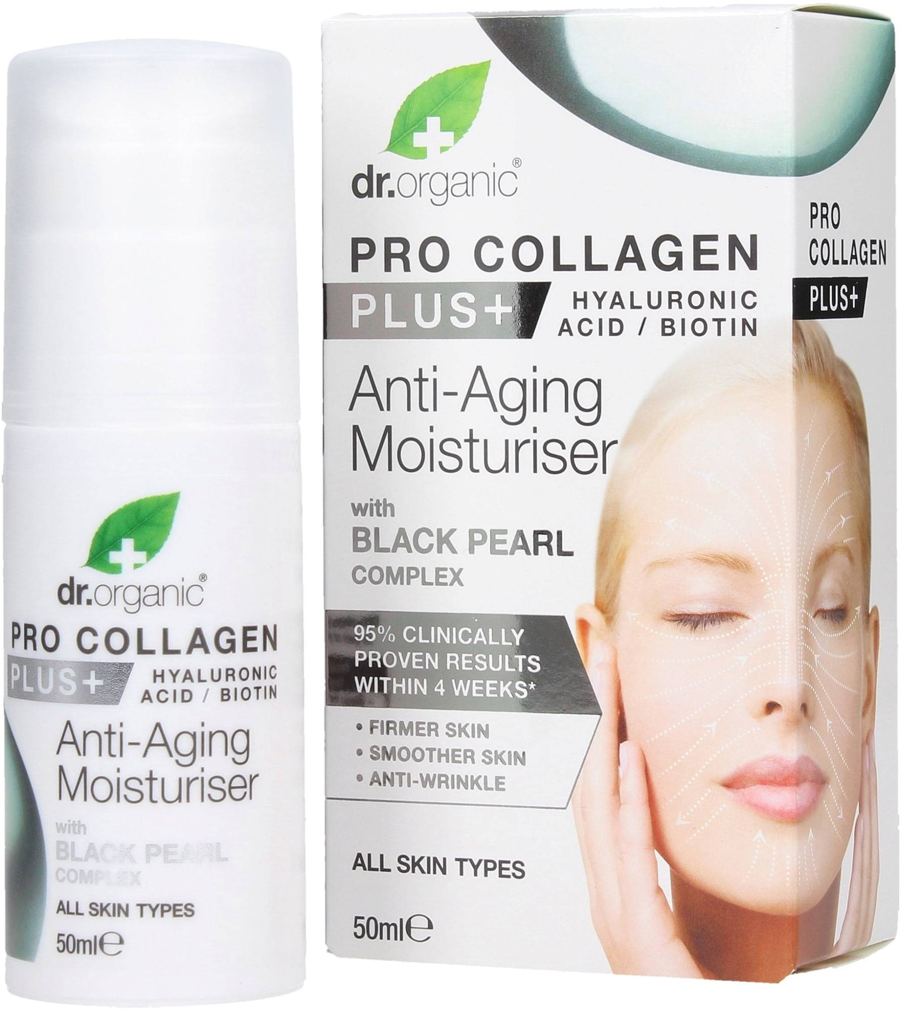 Dr. Organic Pro Collagen Plus Black Pearl Anti-Aging kosteuttaja - 50 ml