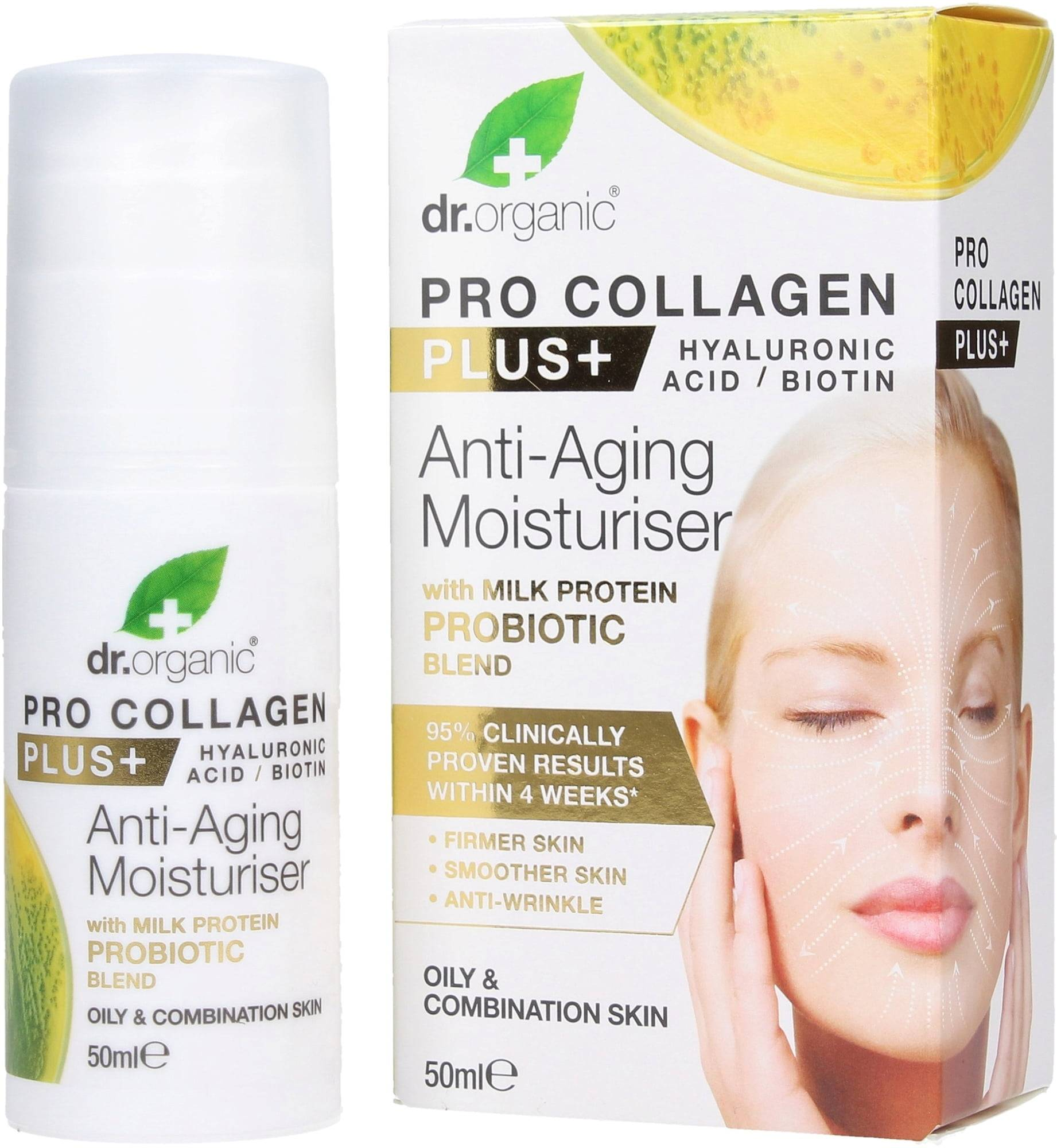 Dr. Organic Pro Collagen Plus Milk Protein Probiotic Anti-Aging kosteuttaja - 50 ml