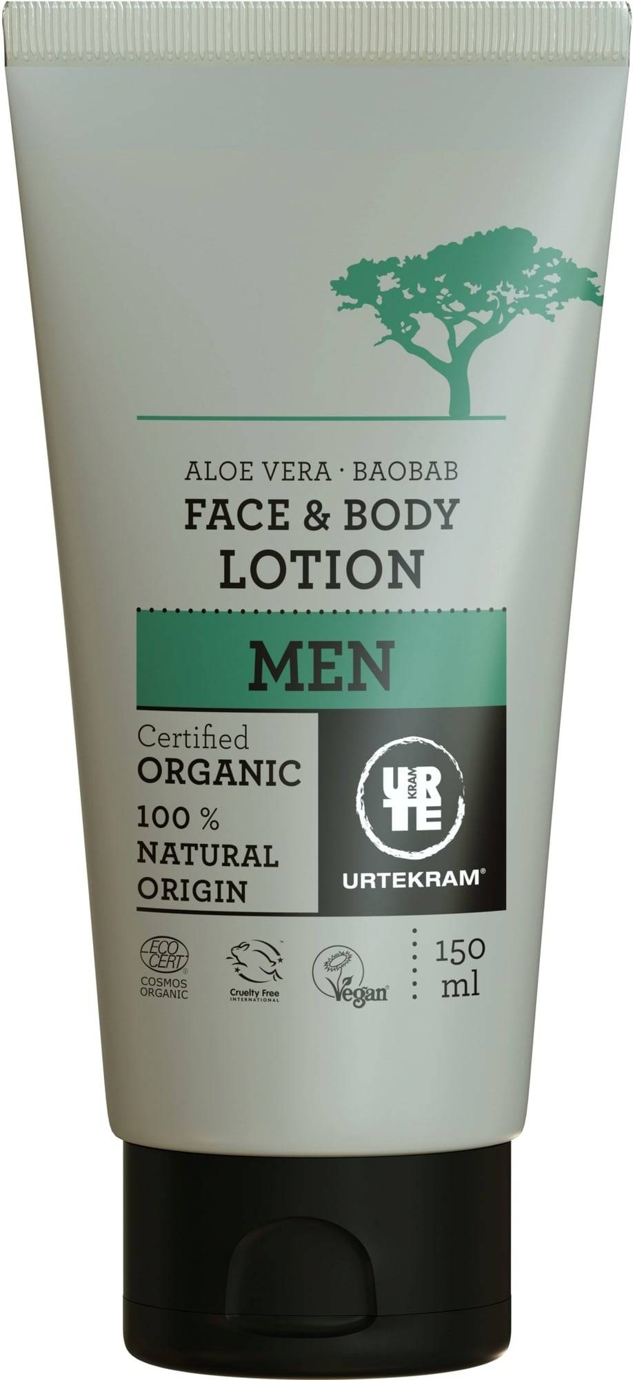 Urtekram Men 2in1 Baobab & Aloe kasvo- ja vartalolotion - 150 ml