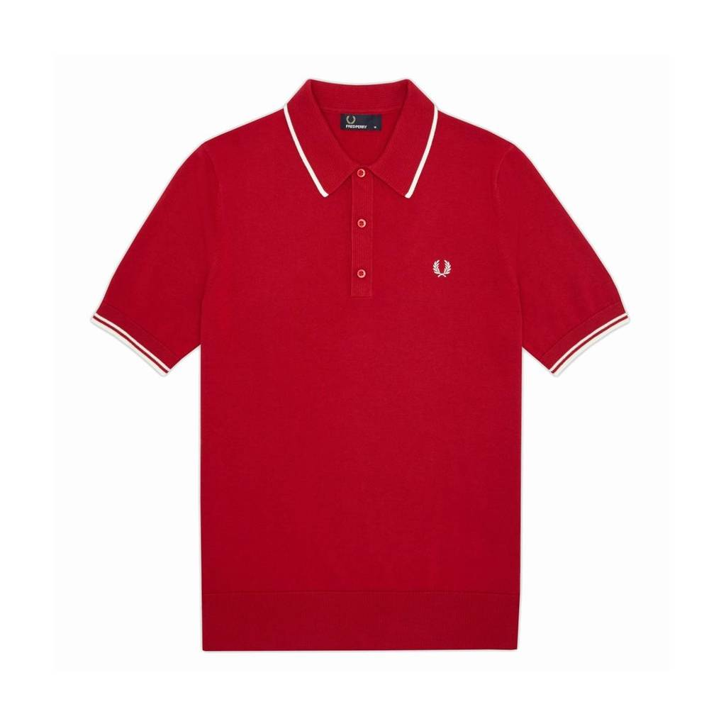 Fred Perry Tipped Knitted Polo Red S