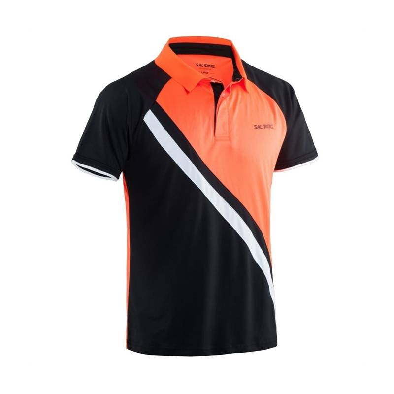 Salming Performance Polo Black/Magma Red M