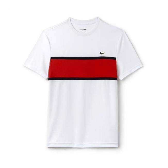 Lacoste Resistant Colorblock Tennis Tee White/Red M