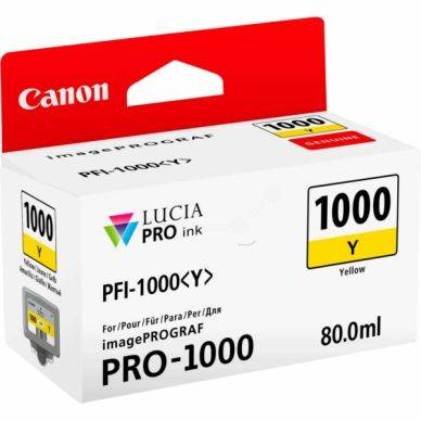 Canon Mustepatruuna keltainen, 80 ml PFI-1000Y Replace: N/A