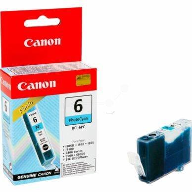 Canon Mustepatruuna cyan photo 13ml BCI-6PC Replace: N/A