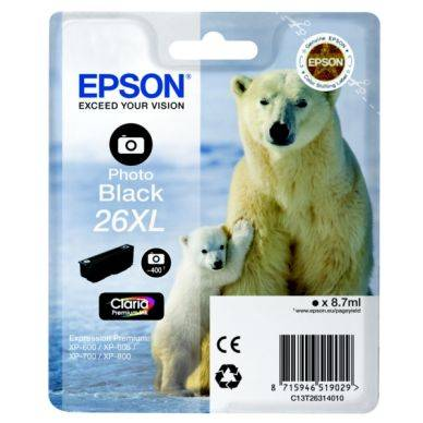 Epson Mustepatruuna musta photo, 400 sivua, high yield T2631 Replace: N/A