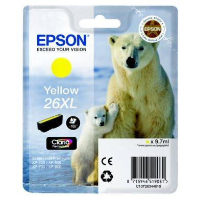 Epson Mustepatruuna keltainen, 700 sivua, high yield T2634 Replace: N/A