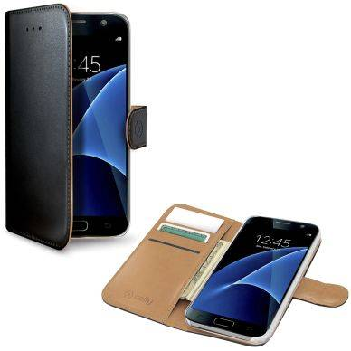 Samsung Celly Celly Wallet Case Galaxy S7 musta/beige WALLY590 Replace: N/A