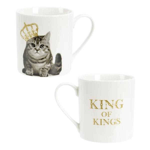 Modern House King of Animal Kopp Katt 37 cl New Bone China