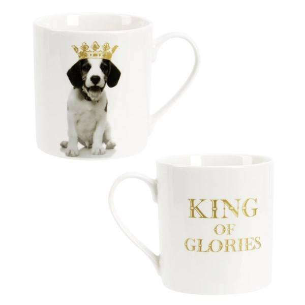 Modern House King of Animal Kopp Hund 37 cl Guld New Bone China