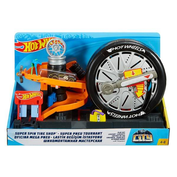 City Super Spin Tire Shop Playset, Hot Wheels