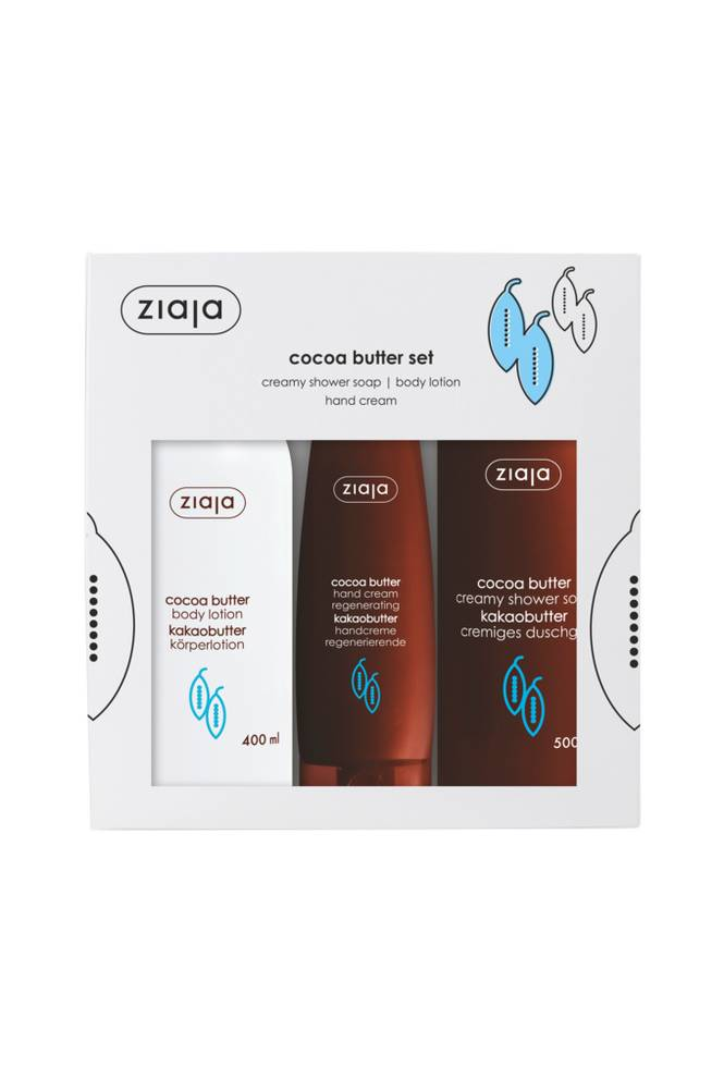 Ziaja Cocoa Butter -lahjapakkaus: Body Lotion 400 ml, Hand Cream 80 ml & Creamy Shower Soap 500 ml