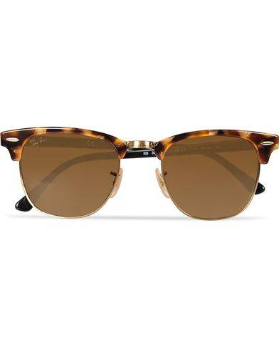 Ray Ban Clubmaster Sunglasses Spotted Brown Havana/Brown
