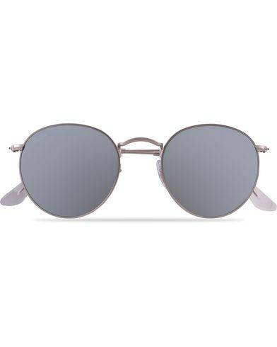 Ray Ban 0RB3447 Round Sunglasses Matte Silver/Silver Mirror