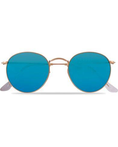 Ray Ban 0RB3447 Polarized Round Sunglasses Matte Gold/Blue Mirror