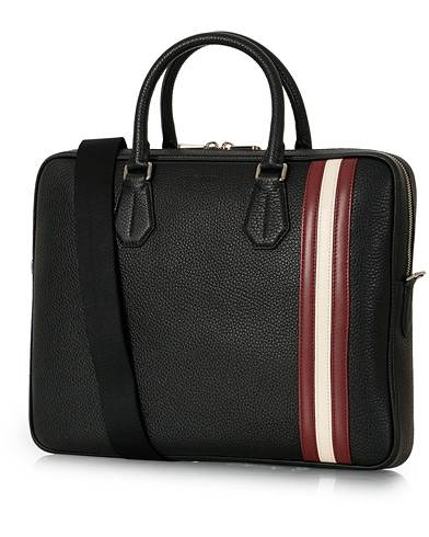 Bally Staz Signature Leather Briefcase Black
