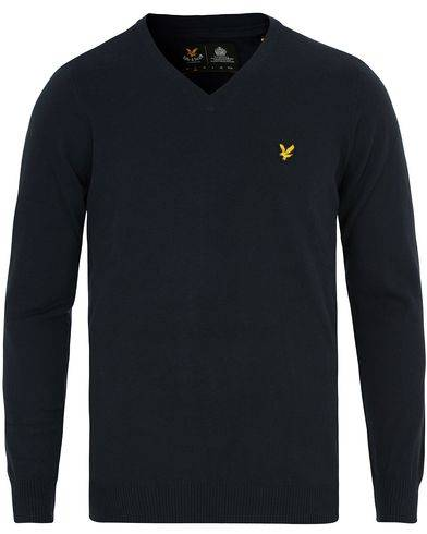 Lyle & Scott V Neck Cotton Merino Navy
