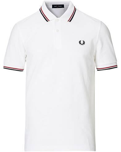 Fred Perry Slim Fit Polo Twin Tip White