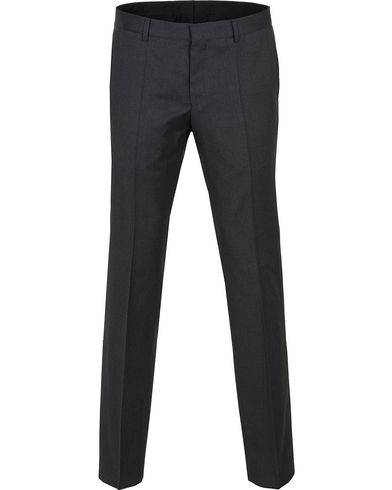 BOSS Gibson Regular Fit Wool Trousers Charcoal