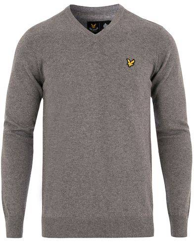 Lyle & Scott V-Neck Cotton Merino Mid Grey