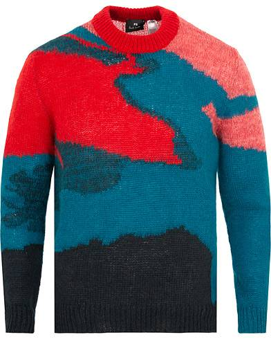 Paul Smith PS By Paul Smith Knitted Lighting Strike Crew Neck Red/Teal