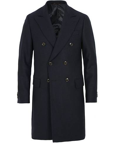 Oscar Jacobson Saul Wool/Cashmere Double Breasted Coat Navy