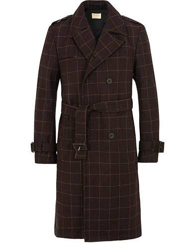 Nudie Jeans Lennart Wool Check Trenchcoat Plum