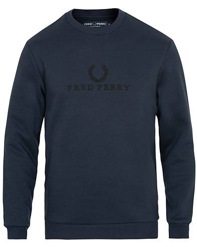 Fred Perry Logo Crew Neck Sweatshirt Washed Navy