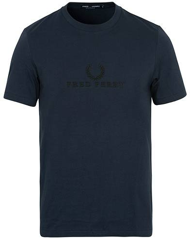 Fred Perry Logo Crew Neck Tee Washed Navy