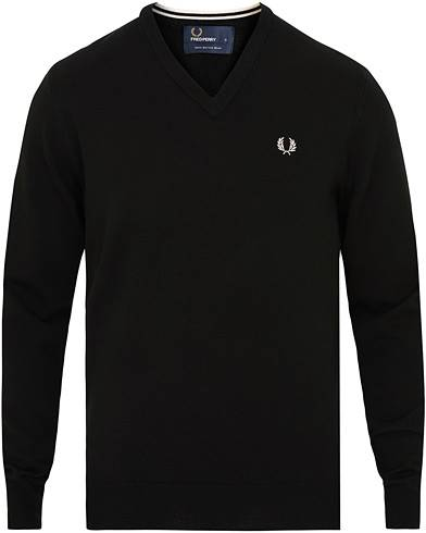 Fred Perry Merino Wool V-Neck Pullover Black