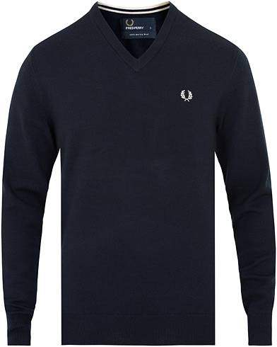 Fred Perry Merino Wool V-Neck Pullover Dark Carbon