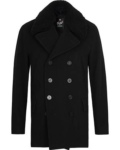 Gloverall Churchill Reefer Shearling Peacoat Black