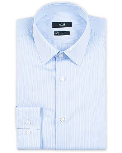 BOSS Isko Slim Fit Aloe Vera Travel Shirt Light Blue
