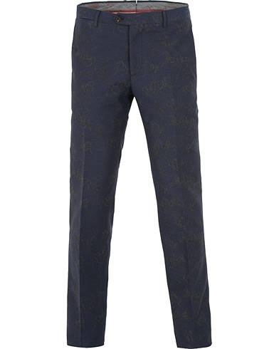Etro Panama Tonal Embroided Trousers Navy