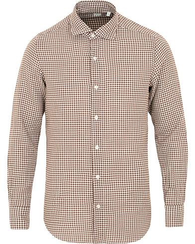 Finamore Napoli Tokyo Slim Fit Gingham Flannel Shirt Brown