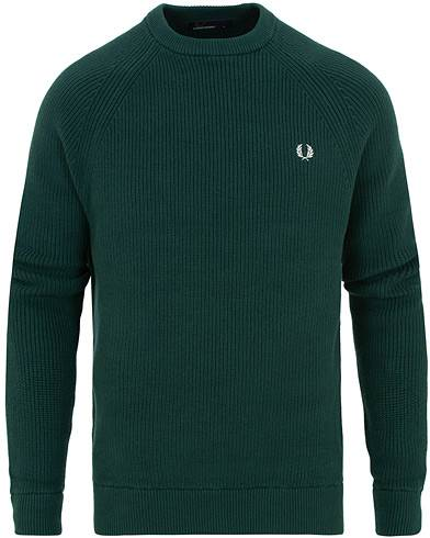 Fred Perry Ribbed Crew Neck Jumper Dark Pine