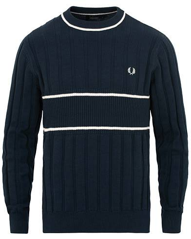 Fred Perry Cabel Crew Neck Jumper Deep Carbon