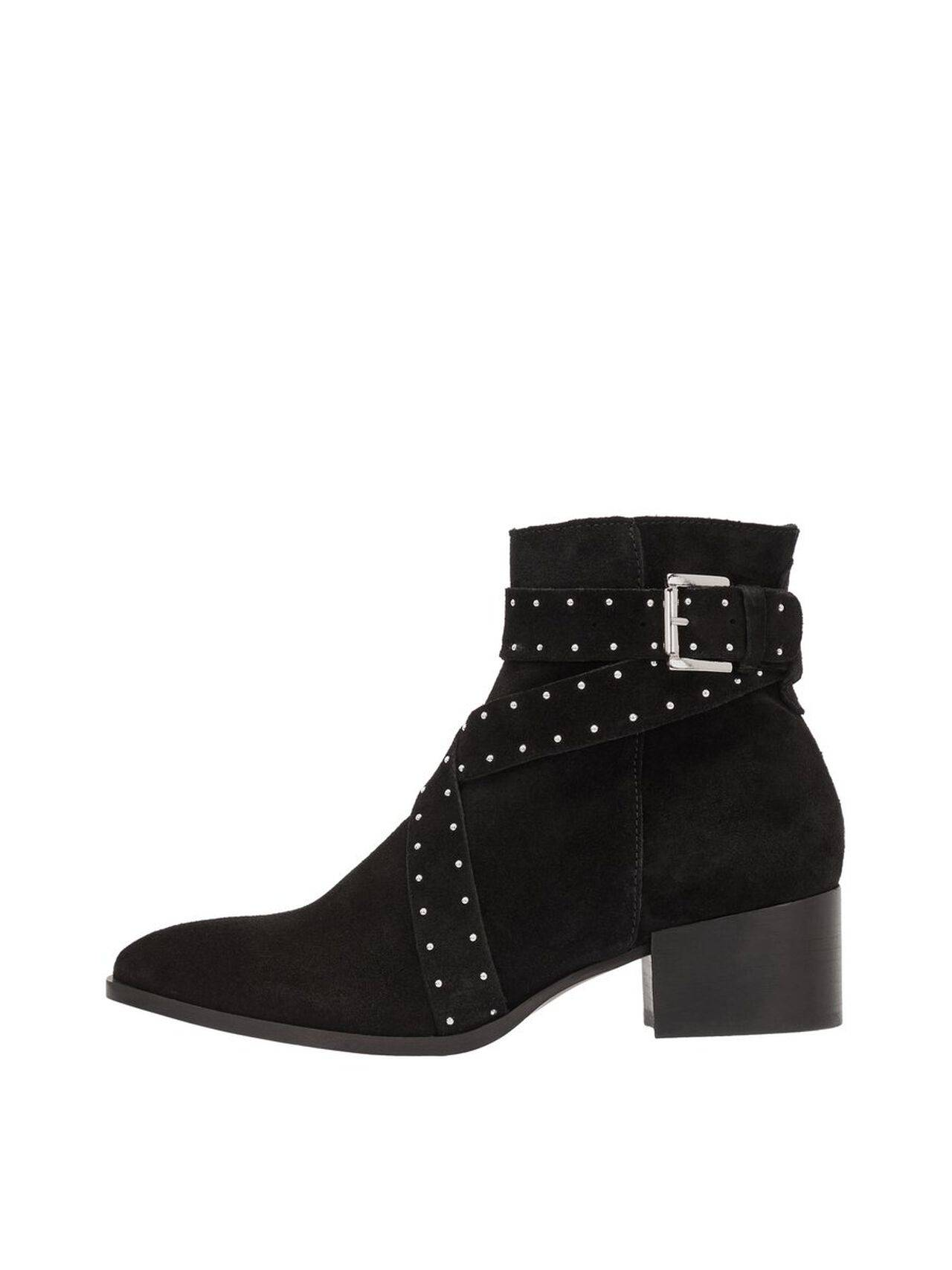 BIANCO Anja Suede Dotted Belt Ankle Boots Women Black