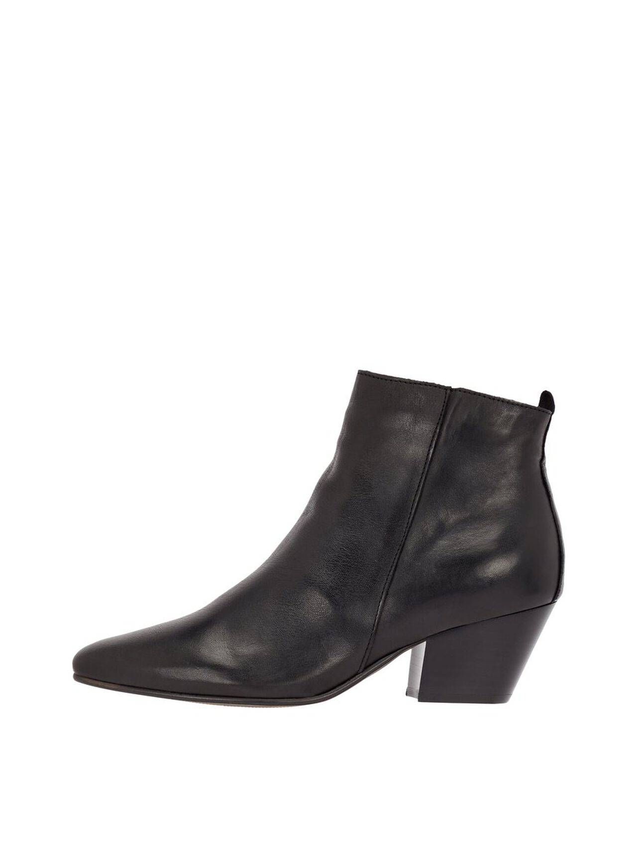 BIANCO Annie Leather Ankle Boots Women Black