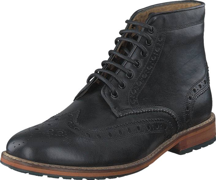 Scott Lyle&Scott Brogue Boot Leather 572 True Black, Kengät, Bootsit, Kengät, Harmaa, Musta, Miehet, 41