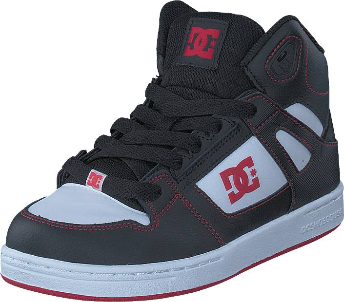 DC Shoes Pure High-top Black/Red/White, Kengät, Sneakerit ja urheilukengät, Korkeavartiset tennarit, Harmaa, Unisex, 30